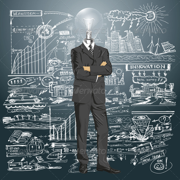 GraphicRiver Lamp Head Businessman in Suit 5593934