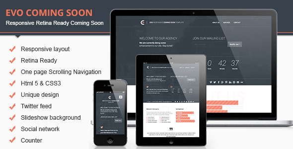 ThemeForest Evo Responsive Retina Ready Coming Soon Template 5591385