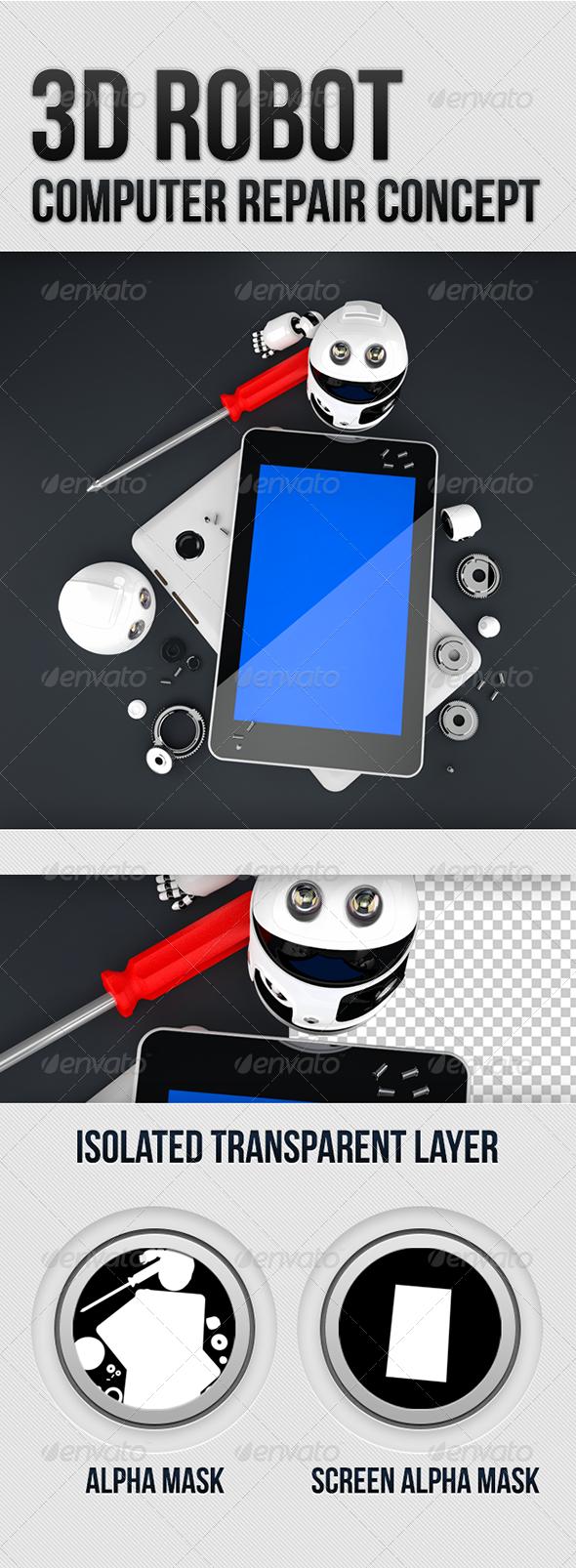 GraphicRiver 3D Robot Tablet Computer Repair Concept 5594057