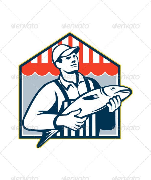 GraphicRiver Fishmonger Holding Fish Retro 5595322