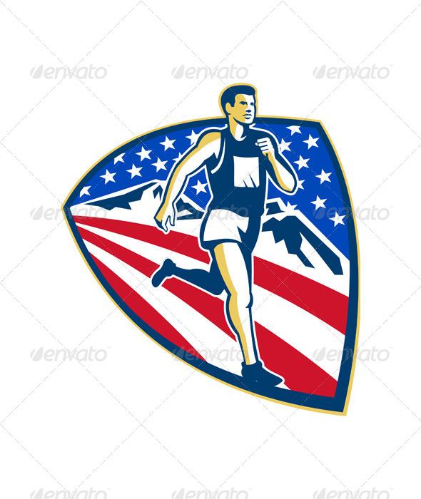 Marathon Runner Logo American Marathon Runner