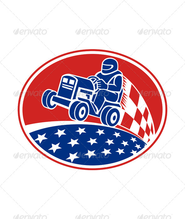 GraphicRiver Ride On Lawn Mower Racing Retro 5595346