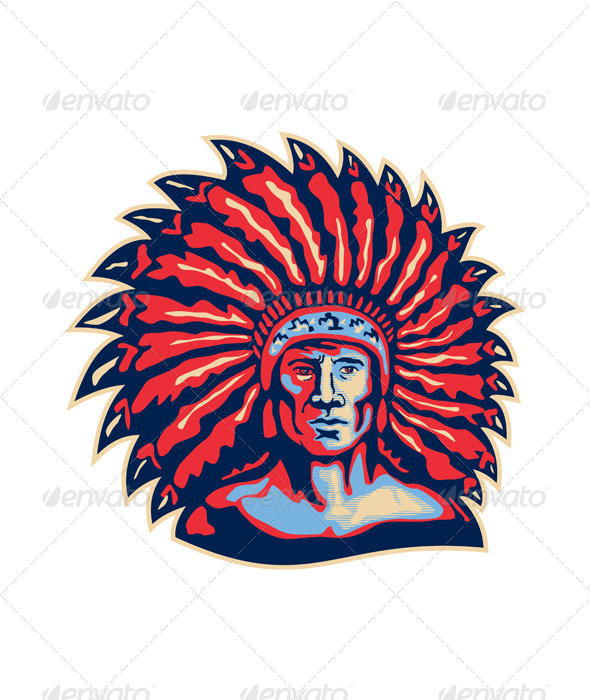 GraphicRiver Native American Indian Chief War 5595347