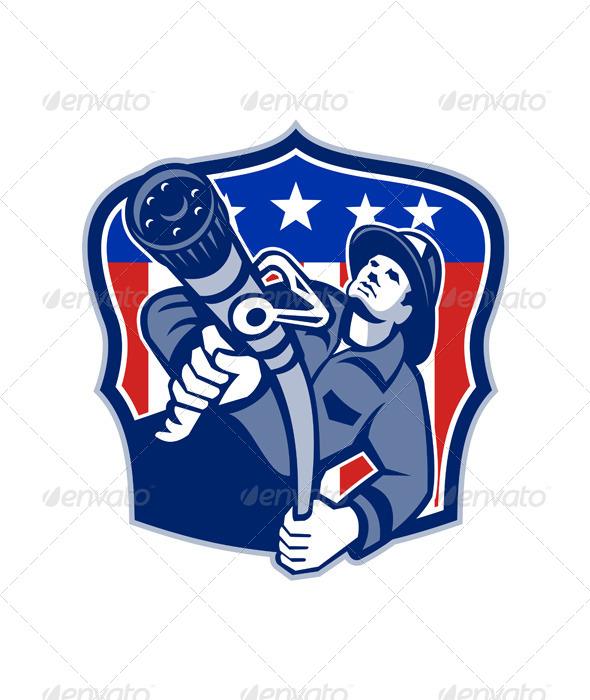GraphicRiver American Fireman Firefighter Fire Hose 5595351