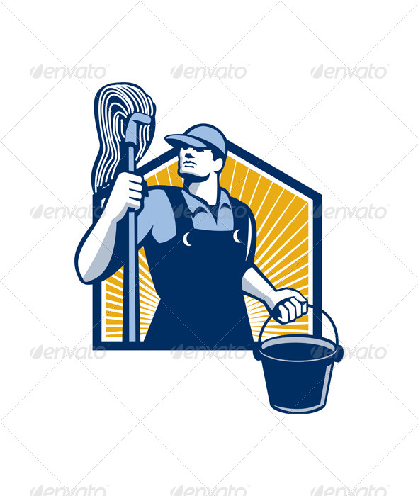 GraphicRiver Janitor Cleaner Holding Mop Bucket Retro 5595358