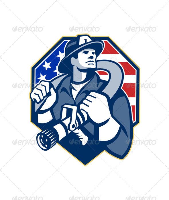 GraphicRiver American Fireman Fire-fighter Fire Hose Retro 5595359