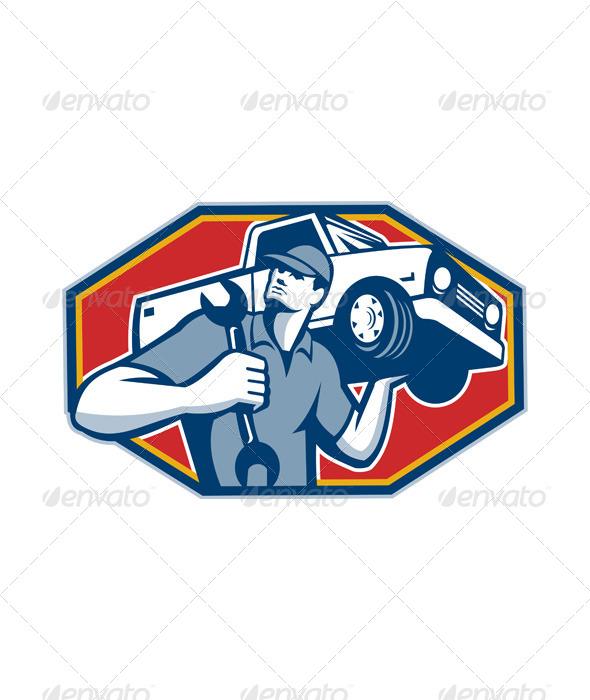 Automotive Mechanic Car Repair Retro