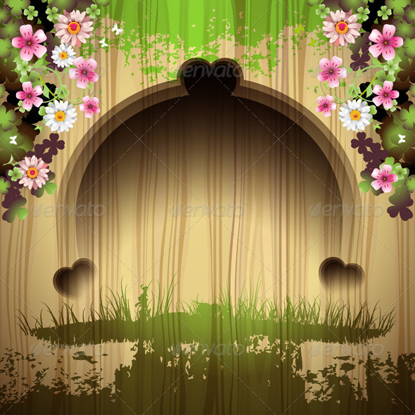 GraphicRiver Carved Wood with Flowers 5595646