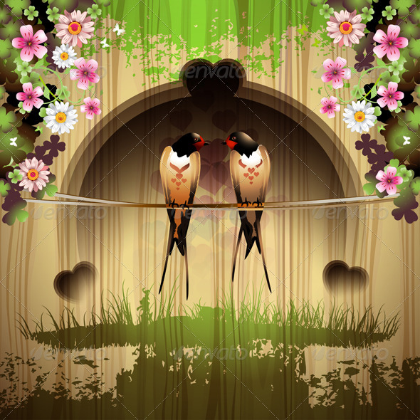 GraphicRiver Two Swallows and Flowers 5595696
