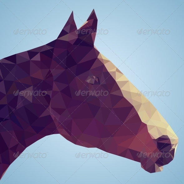 GraphicRiver Head of a Bay Horse in Triangular Style 5595895