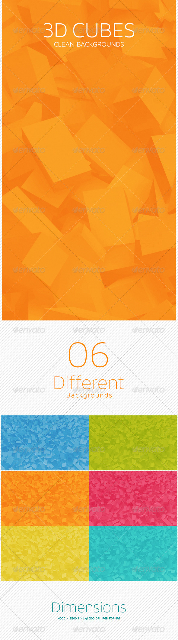 GraphicRiver 3D Cubes Clean Backgrounds 5595991
