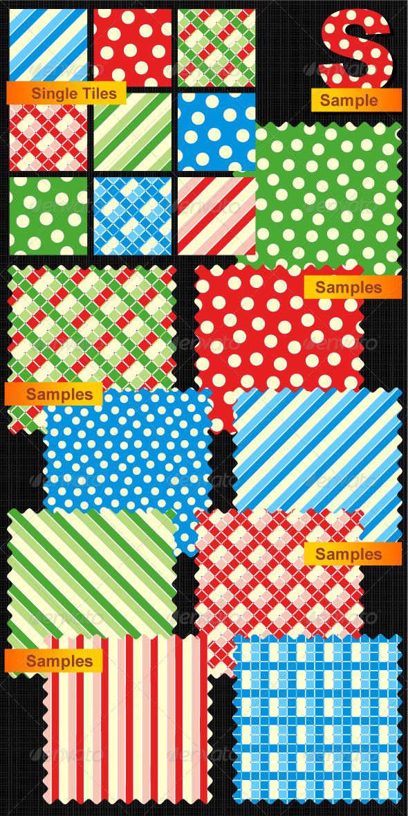 GraphicRiver Seamless Patterns Polka-dots Plaids Stripes 574869