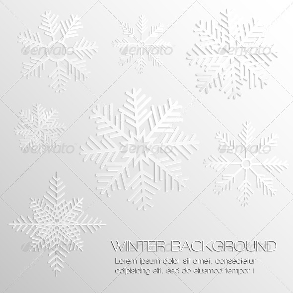GraphicRiver Abstract Background with Paper Snowflakes 5596570