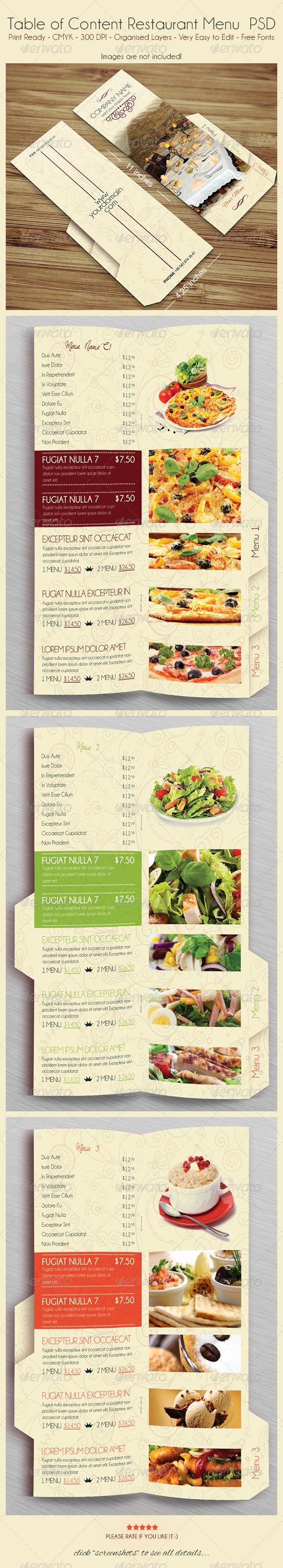 Table of Content Restaurant Menu