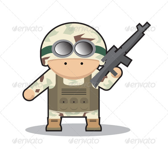 GraphicRiver Little Desert Soldier with Assault Riffle 5591917