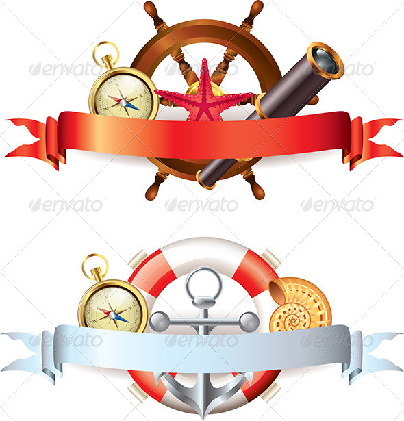 GraphicRiver Compositions with Marine Items and Ribbons 5596960