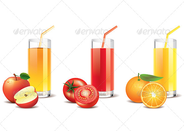 GraphicRiver Apple Tomato and Orange Juice Vector 5597446