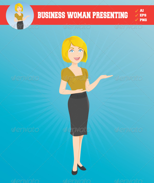 GraphicRiver Business Woman Presenting 5597871