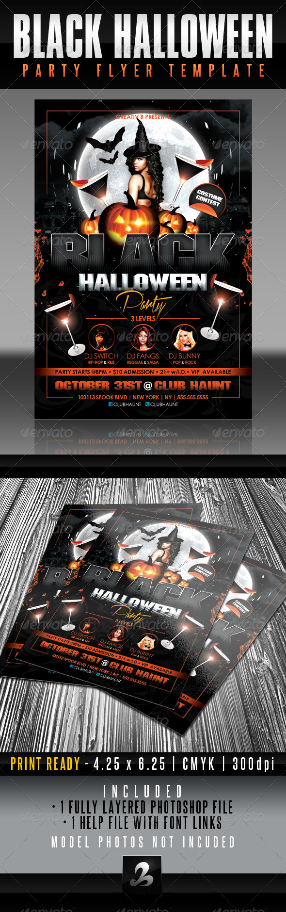 GraphicRiver Black Halloween Party Flyer Template 5598087