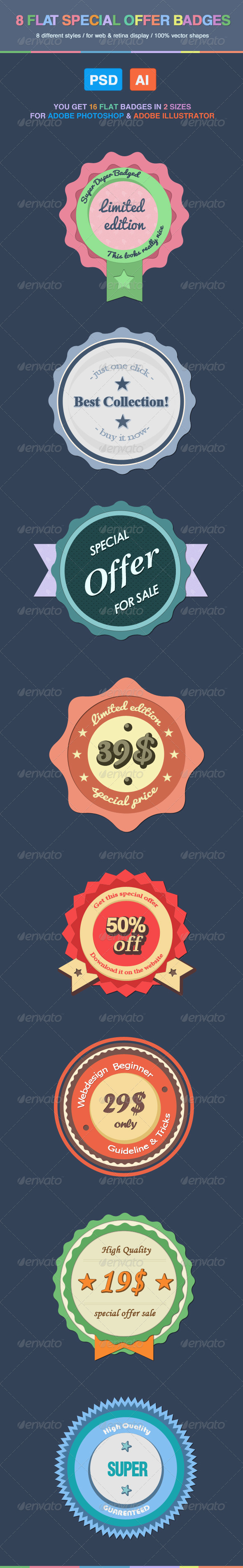 8 Flat Special Offer Badges - Badges & Stickers Web Elements