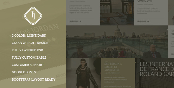 JJ -  One Page Multi Purpose Portfolio PSD Theme