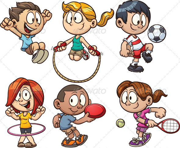 GraphicRiver Cartoon Kids Playing 5600221