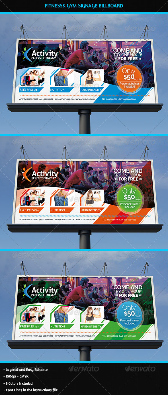 GraphicRiver Fitness & Gym Business Signage Billboard 5600503