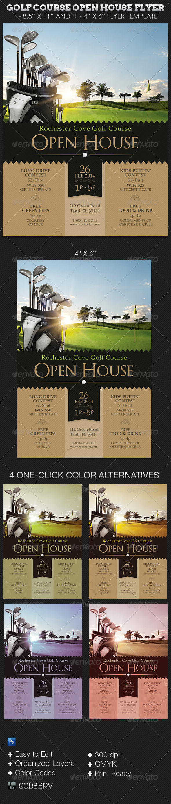 Golf Course Open House Flyer Templates