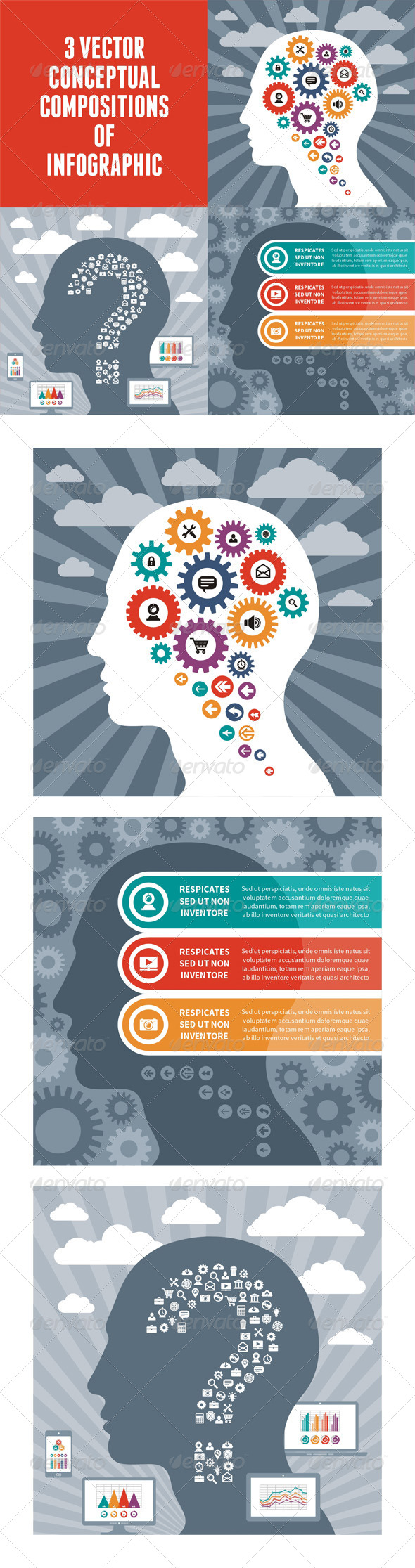 GraphicRiver Infographic Concept with Human Head 5601207