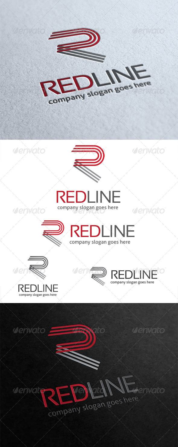 GraphicRiver Red Line Letter R Logo 5601448