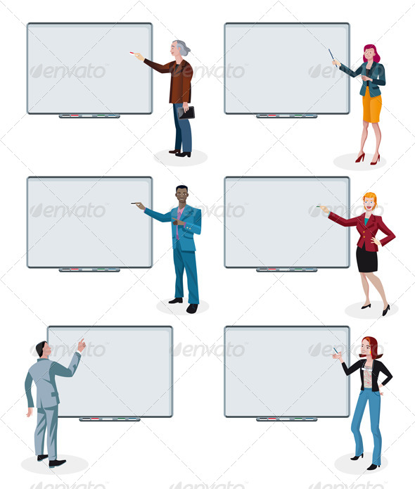 GraphicRiver Business People and Empty Interactive Whiteboards 5601451