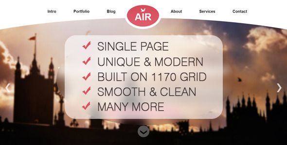 AIR - Single Page Creative PSD Theme