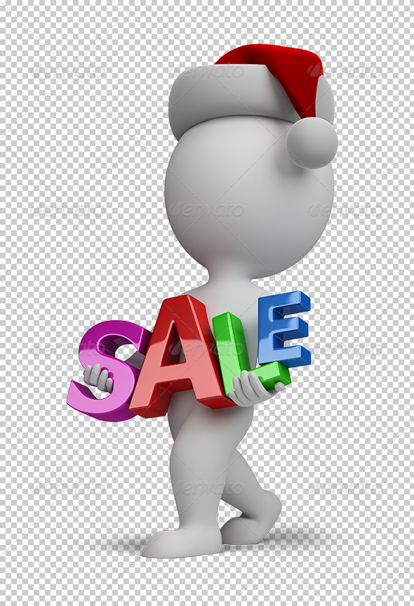 GraphicRiver 3D small people Santa carries sign SALE 5603392