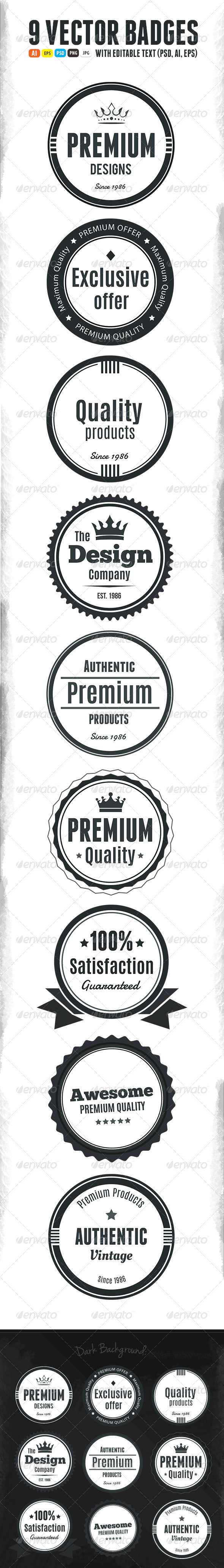 GraphicRiver 9 Scalable Vintage Badges 5593918