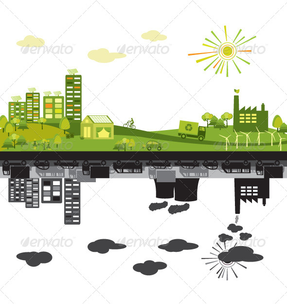 GraphicRiver Green City vs Polluted 5603454