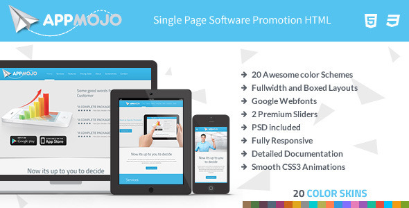 ThemeForest App Mojo Single Page Software Promotion HTML 5604162