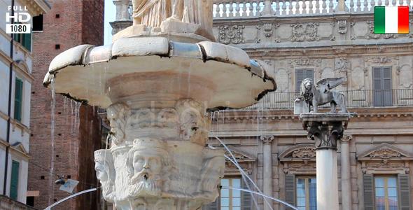 Fountain in Piazza Erbe Verona Italy Europe
