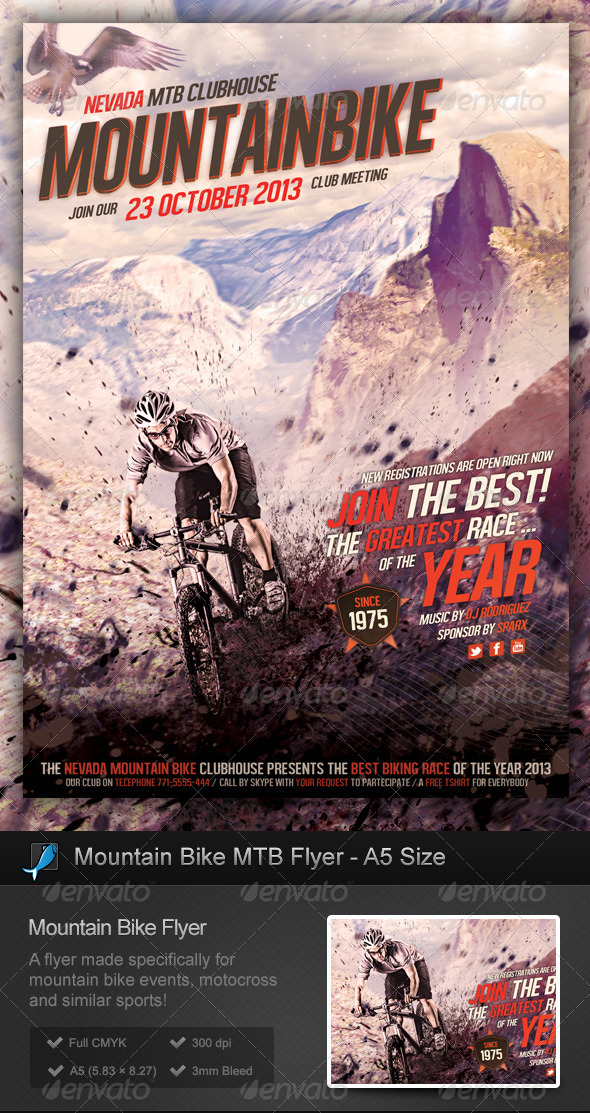 GraphicRiver Mountain Bike MTB Flyer A5 Size 5604742