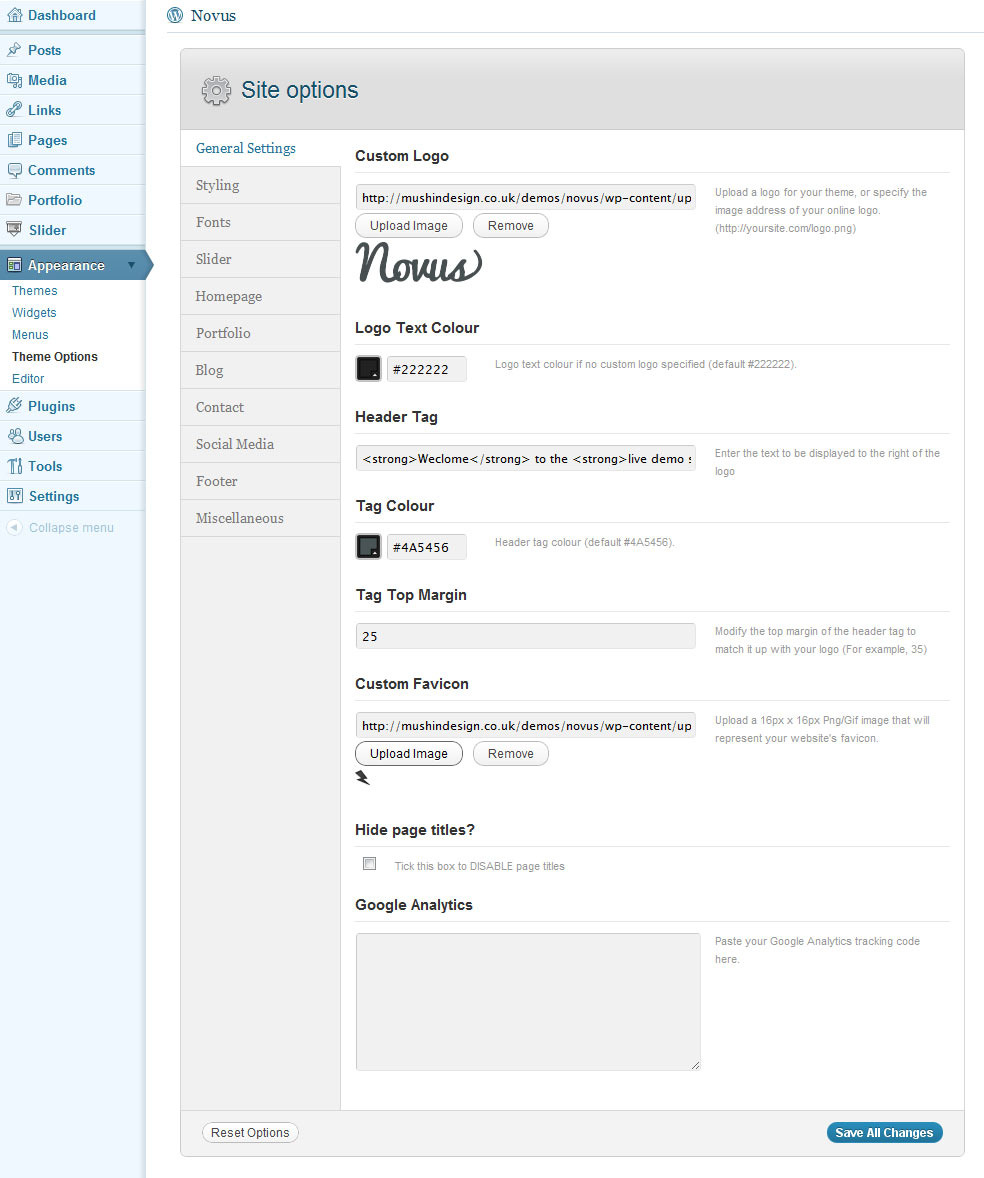 Novus - WordPress Portfolio - Options preview