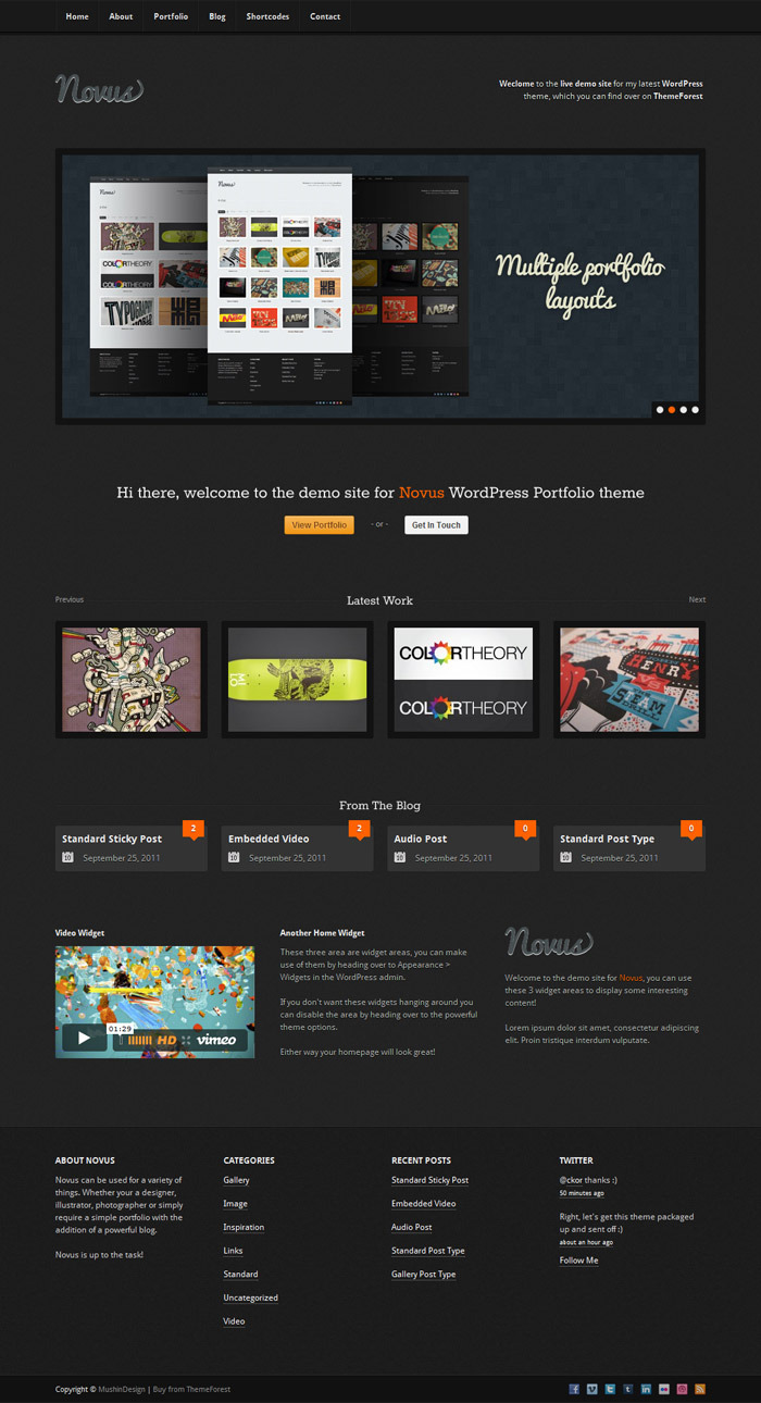 Novus - WordPress Portfolio - Home dark