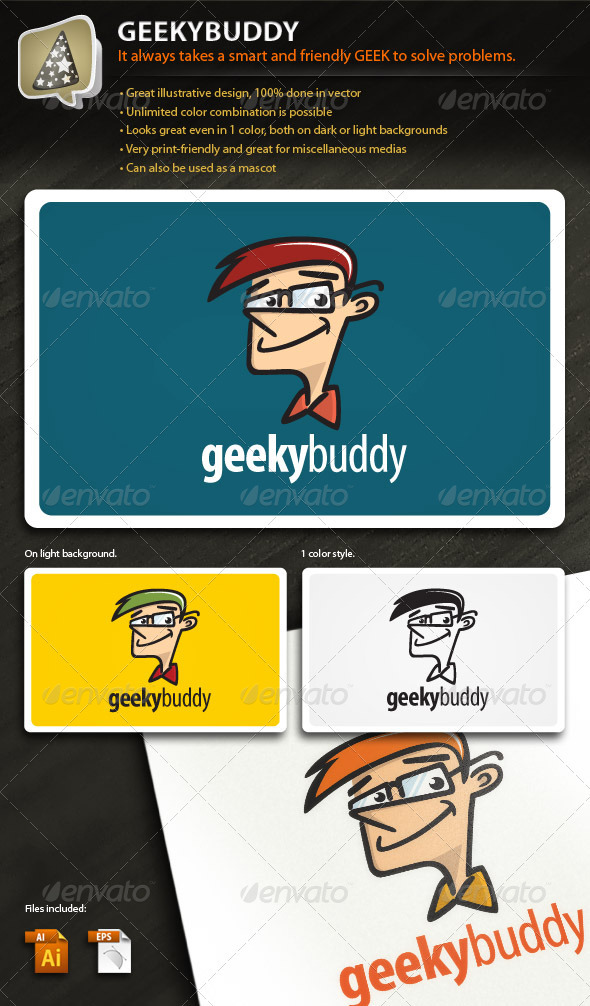 Graphic River GeekyBuddy Illustrative Mark for Your Tech Biz Logo Templates -  Humans 576253