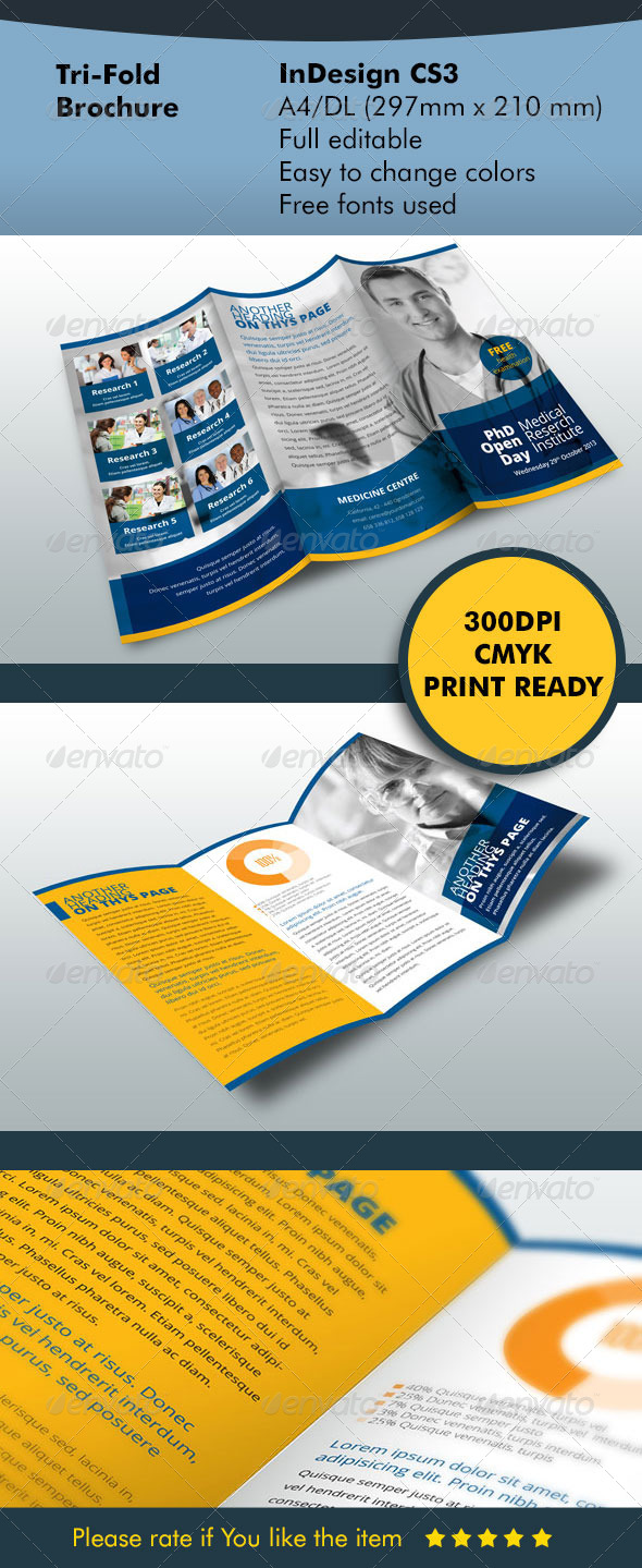 TriFold Brochure Blue - Informational Brochures