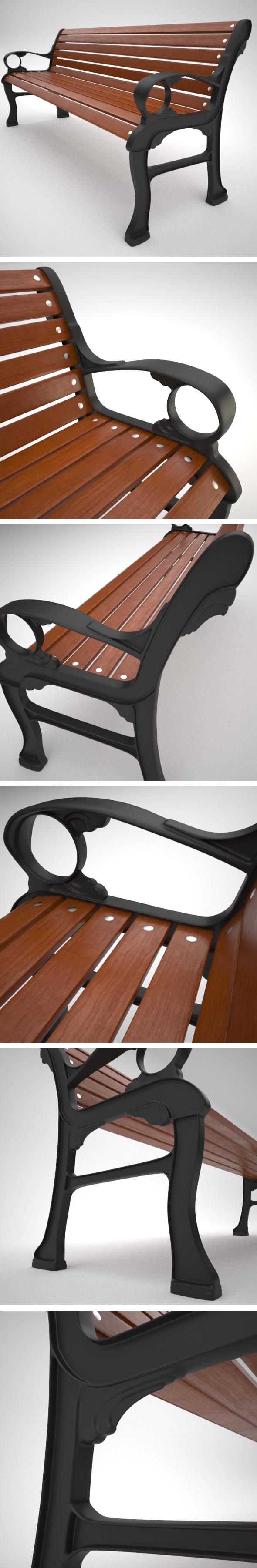 3DOcean Exterior Wood Bench 5606970