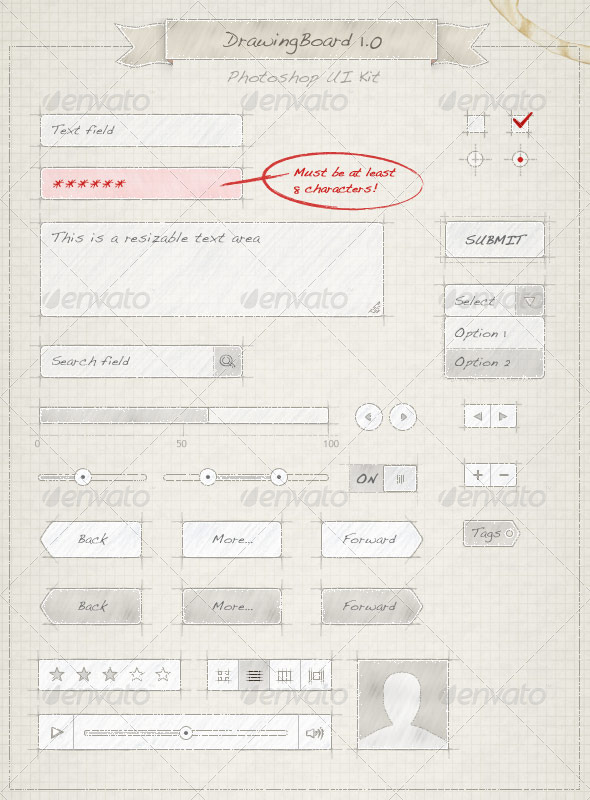 GraphicRiver Drawing Board UI Kit 576543