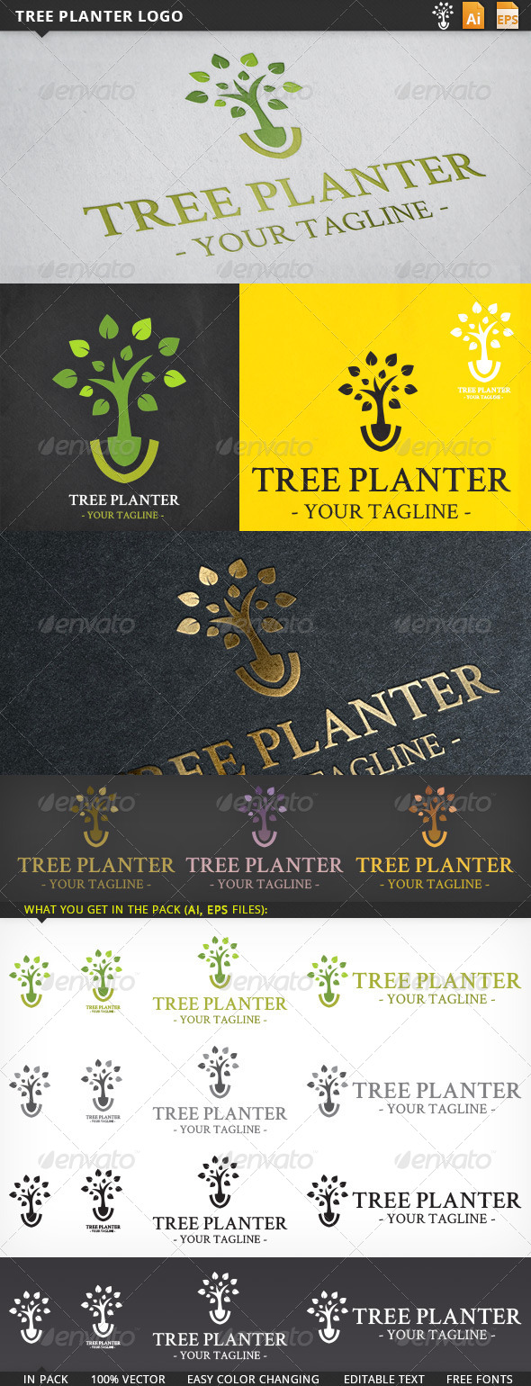 GraphicRiver Tree Planter Logo 5607101