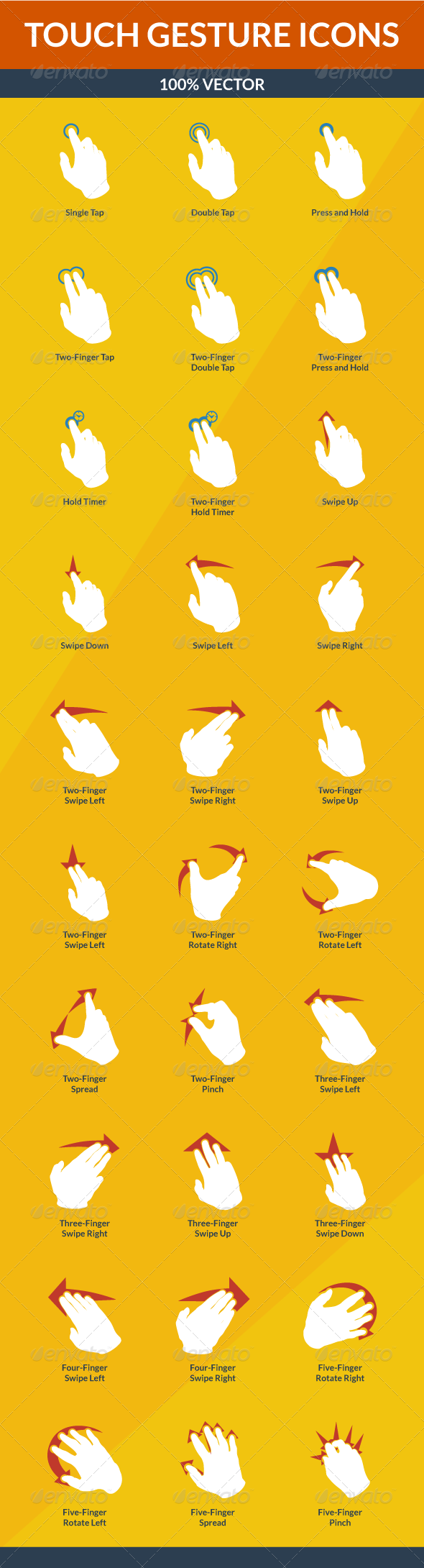 GraphicRiver Touch Gesture Icons 5607104