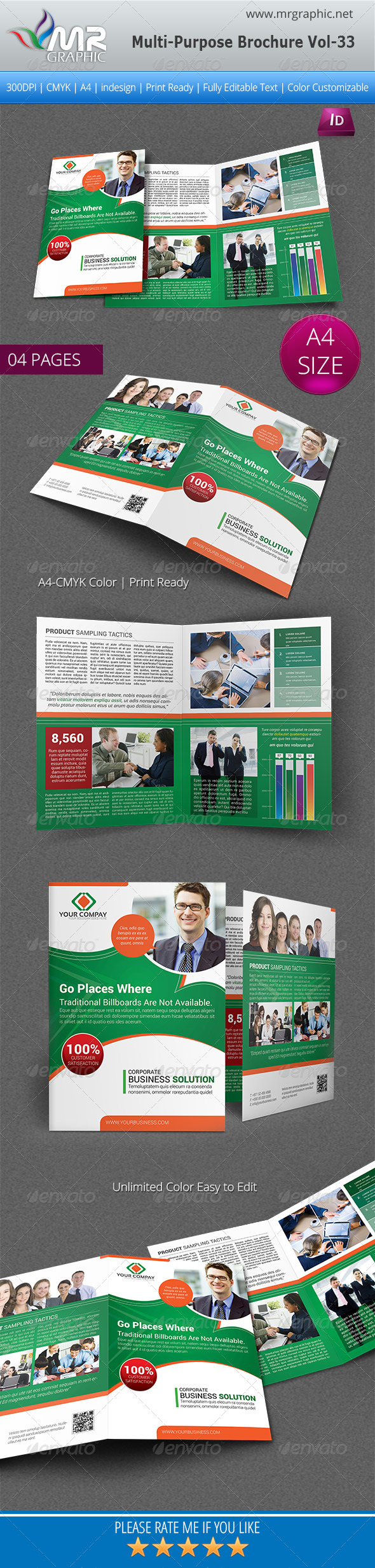 GraphicRiver Multipurpose Bifold Brochure Template Vol-33 5607115