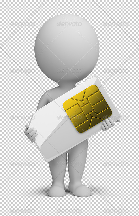 GraphicRiver 3D small people sim card 5610218