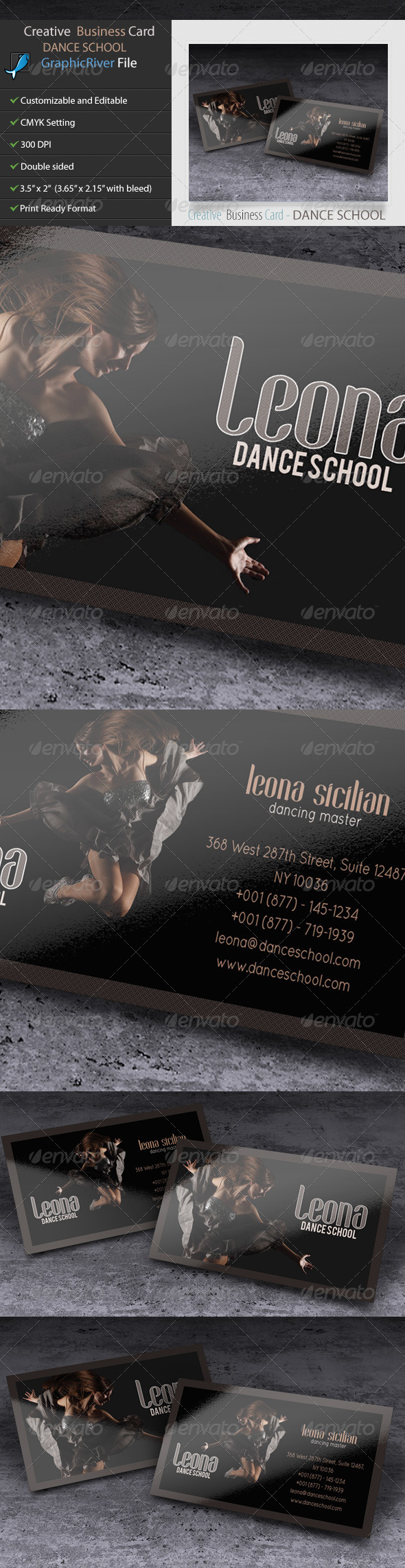 GraphicRiver Creative Business Card Dance School 5610518