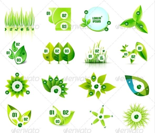 GraphicRiver Set of Eco Leaf Infographic Design Templates 5610736